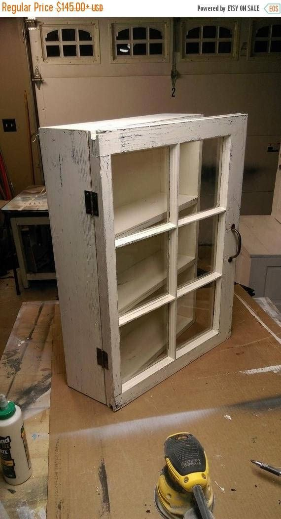 Medicine Cabinet Rustic Display Cabinet Window Wall Cabinet Rustic Wood Windows 6 Pane