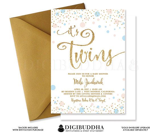 Twins Shower Invitation Baby Shower Invite Mint  Gold Glitter