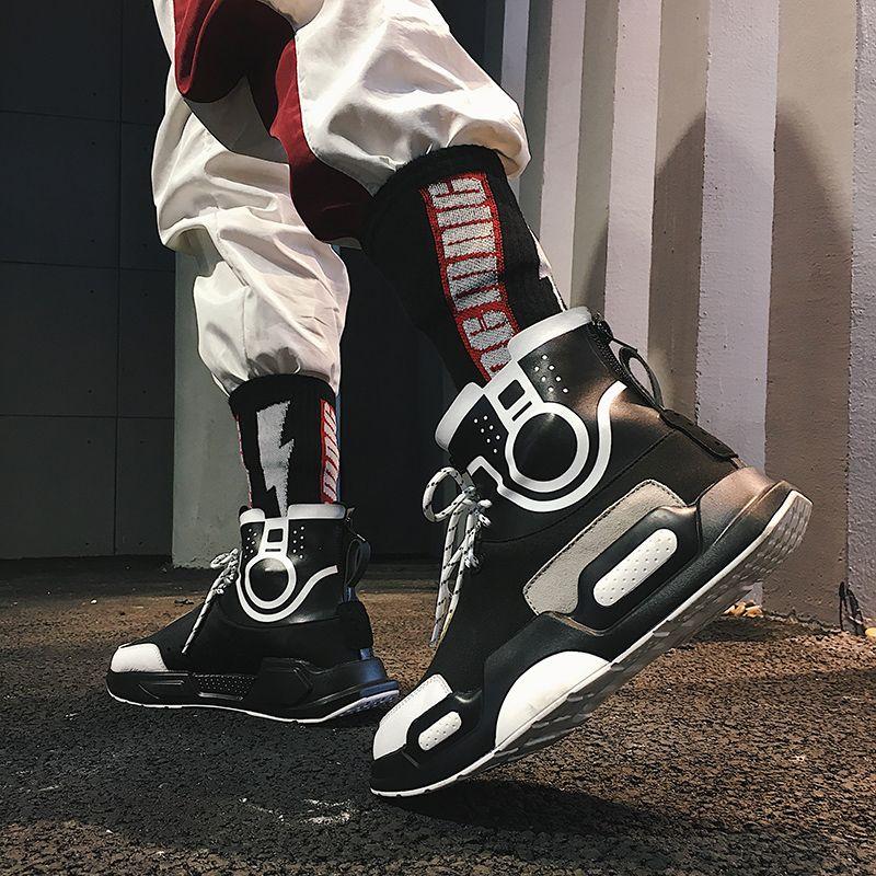 bf0af6f4 Elevator Street Hip Hop Sneakers for Men Taller 3.2inch / 8cm Black High  Top Board Shoes