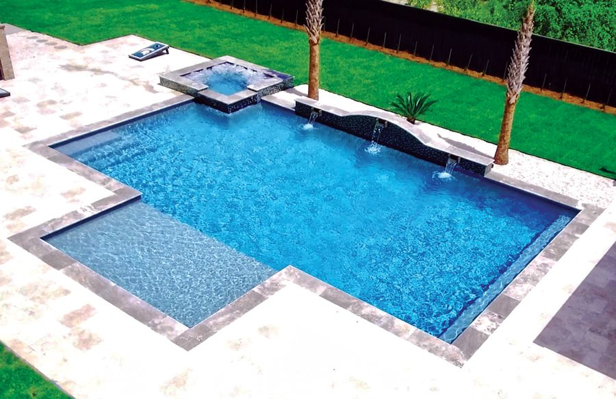 Modified Rectangular Swimming Pool Pictures Blue Haven Pools Rectangular Swimming Pools Backyard Pool Landscaping Rectangle Swimming Pools