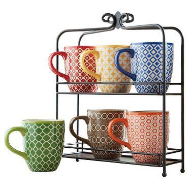 7 Pc Mug Set With Stand Geometric Print Sam S Club Mugs Set