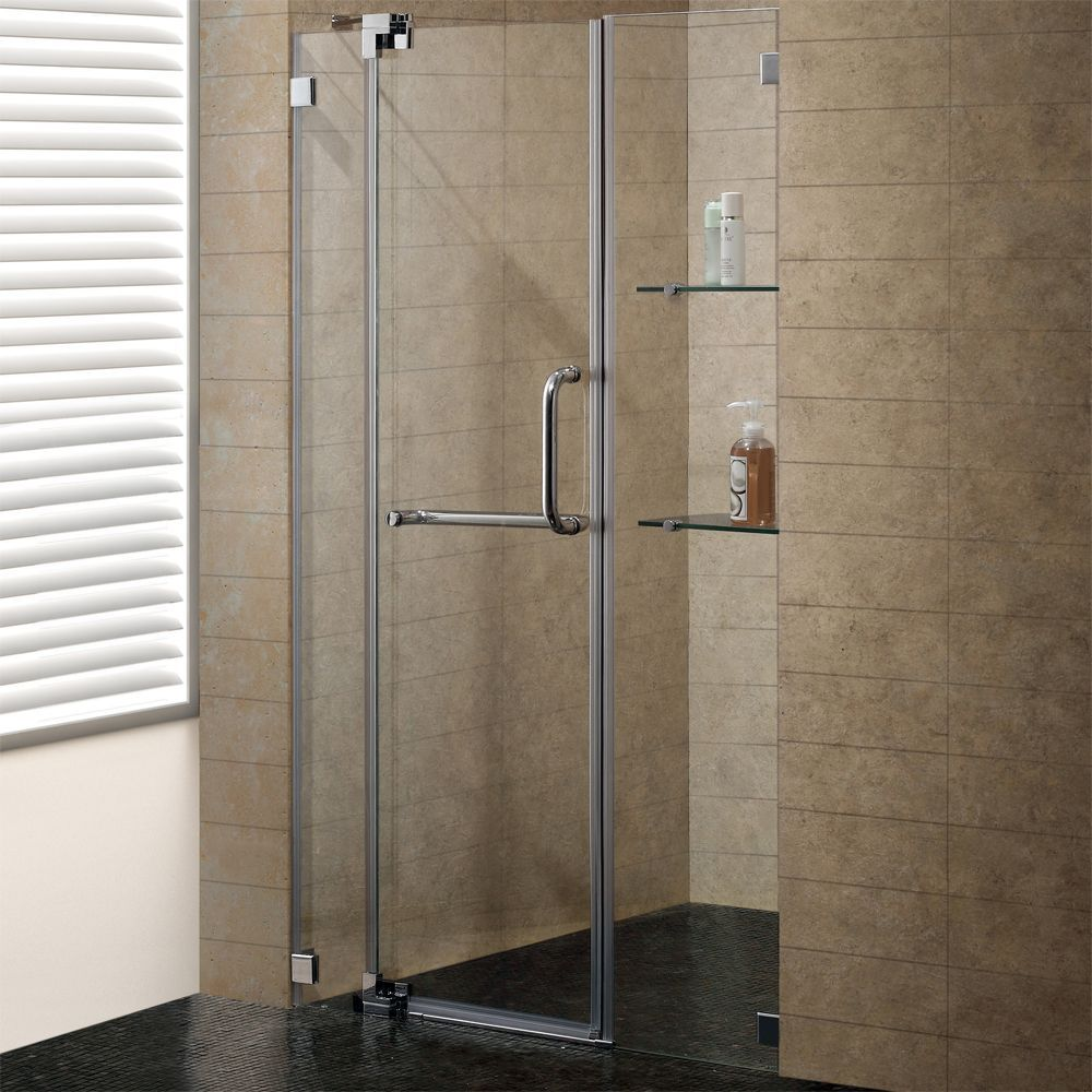 Clear and Brushed Nickel Frameless Shower Door 48 Inch 3/8 Inch ...