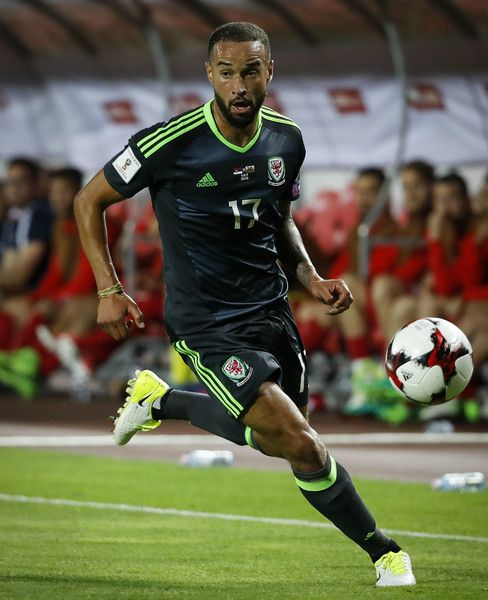 Jazz Richards of Wales in action during the FIFA 2018 World Cup Qualifier between Serbia and Wales at stadium Rajko Mitic on June 11, 2017 in Belgrade, Serbia.