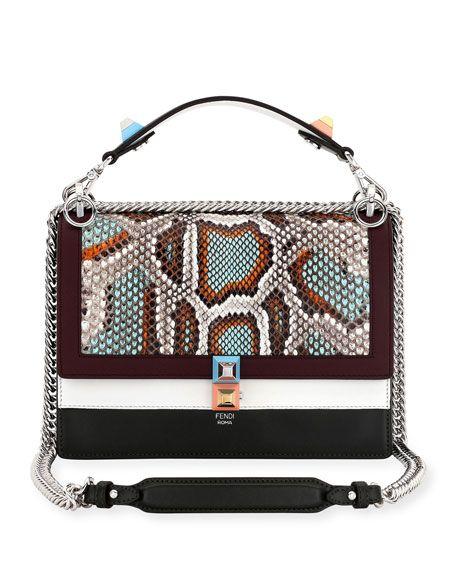 b9667e959265 FENDI Kan I Python   Leather Shoulder Bag