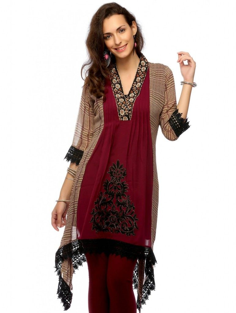 Looking So Good #Designer Party Wear #Kurti | patterns mix | Pinterest