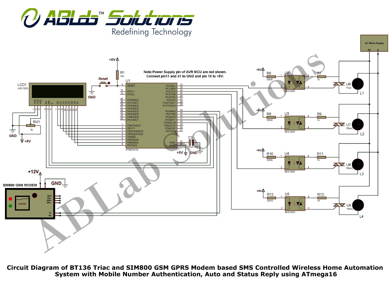 Circuit Diagram of BT136 Triac and SIM800 GSM GPRS Modem based SMS ...