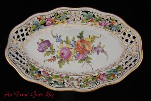 Carl Thieme Hand Painted Dresden Flowers Oval Platter