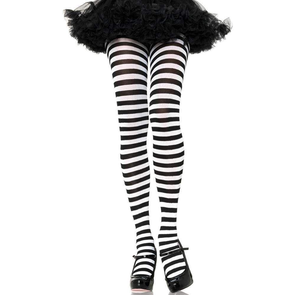 White /& Black Striped Witch Costume Halloween Costume Steampunk Leggings Halloween Tights Beetlejuice Leggings Womens Halloween