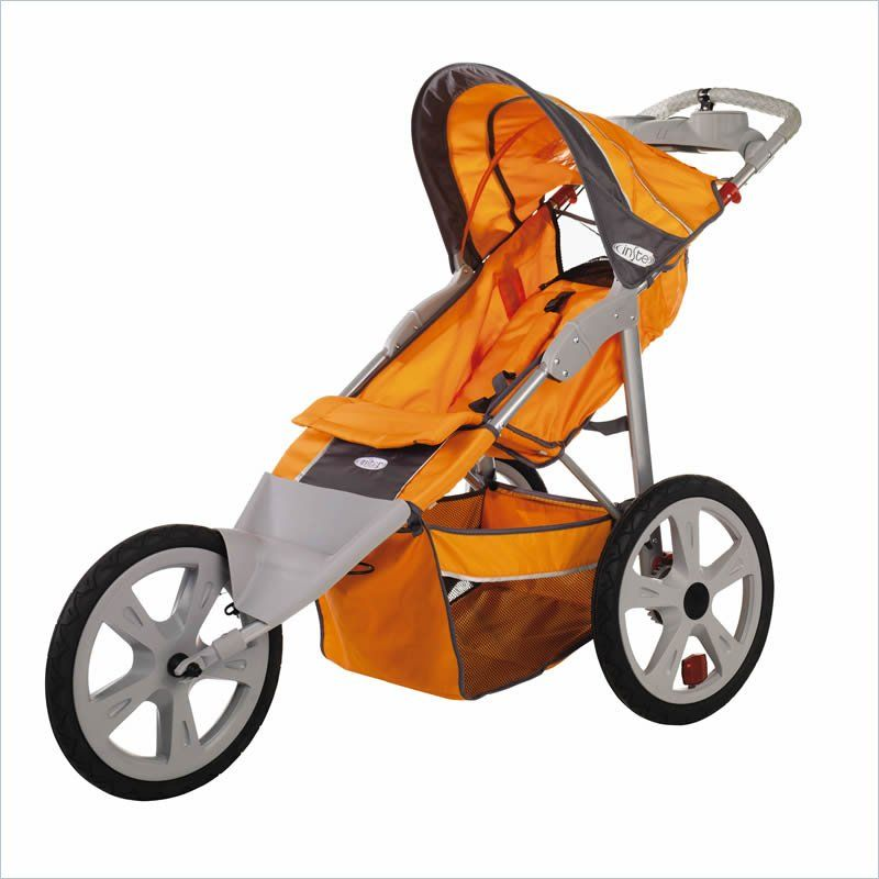 Flash Fixed Wheel Single Jogger Stroller in Orange and