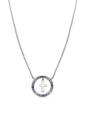 Belk Silverworks Multi Silver-Tone Polished Drop Cross Necklace
