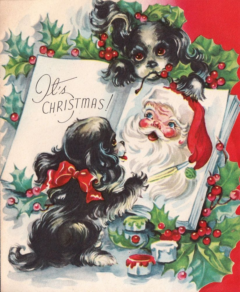 Vintage Greeting Card Christmas Dog Painting Santa Claus Cocker