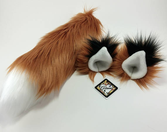 213e01090 Realistic Fox Ears And Tail Set-Fox Tail-Fox Ear And Tail-Fox Ears-Cat Ears  and Tail-Fox ear headban