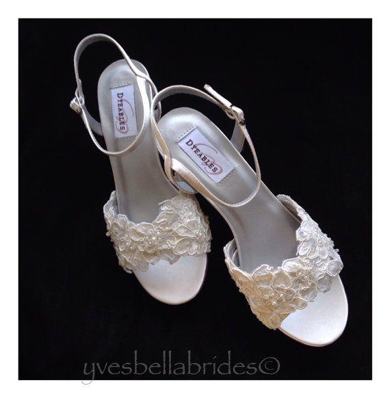 00b731b43db Alencon Lace with Pearls Wedge Wedding Shoes by YvesBellaBrides ...