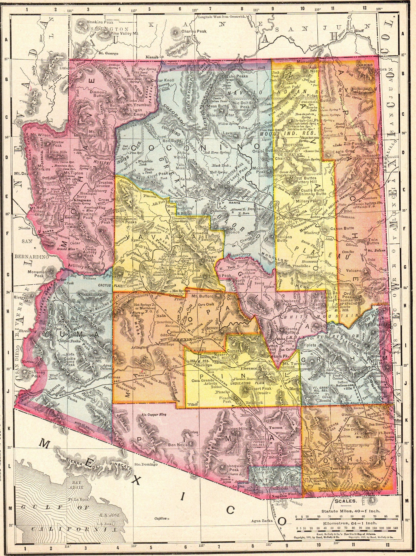 1911 Antique ARIZONA Map Vintage Map of Arizona Gallery Wall Art ...