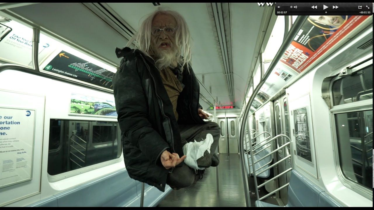 Crazy Or Speaking In Tongues Homeless Defies Gravity On Train New York Subway Speaking In Tongues Homeless Man