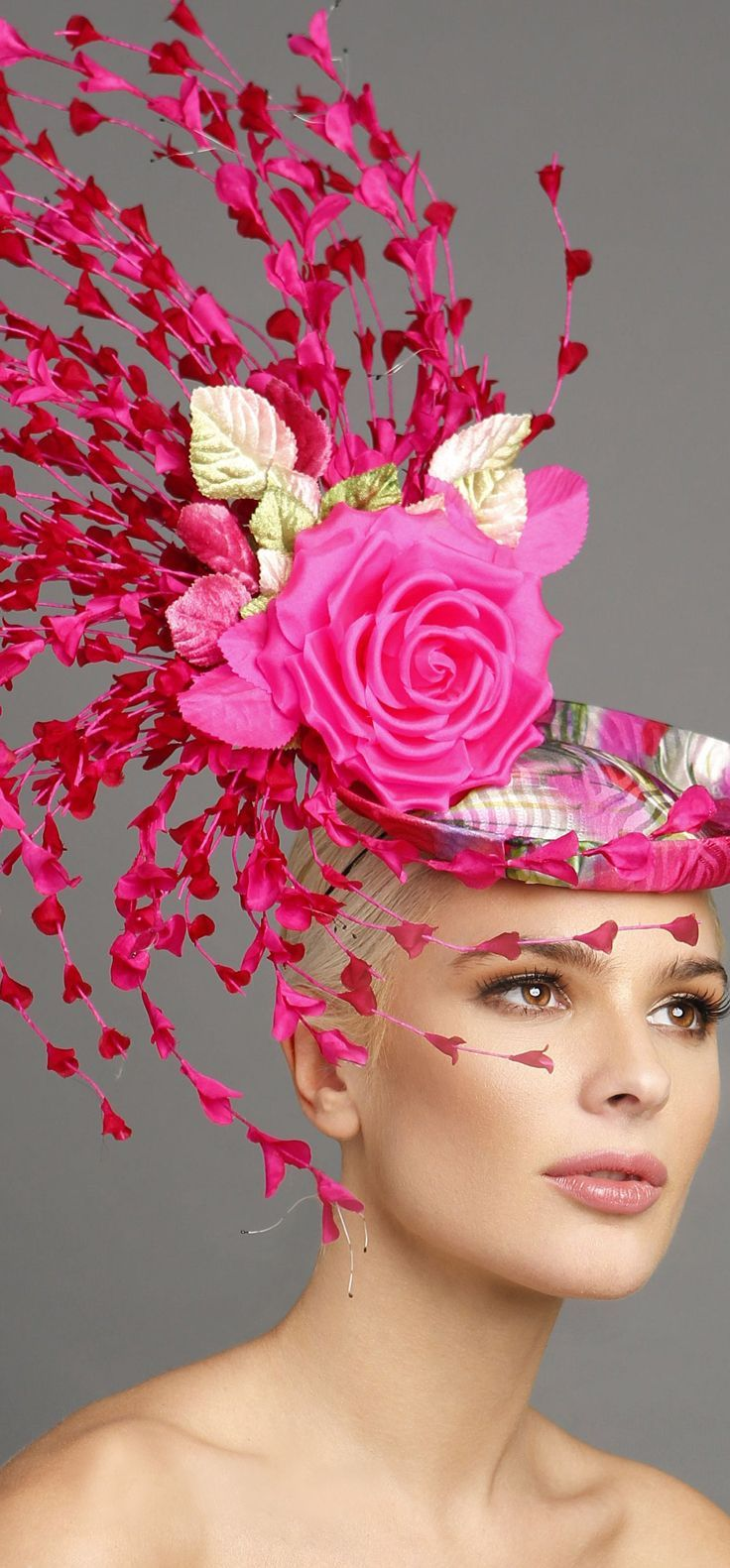 Hot Pink Floral Rose and Buds Fascinator Headpiece Hat. Mother of ...