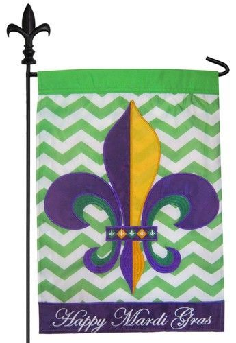 Mardi Gras Garden Flag With A Classic Style Purple, Green And Gold Fleur De  Lis Against A Contemporary, Lime Green And White Chevron Backdrop That Is  ...