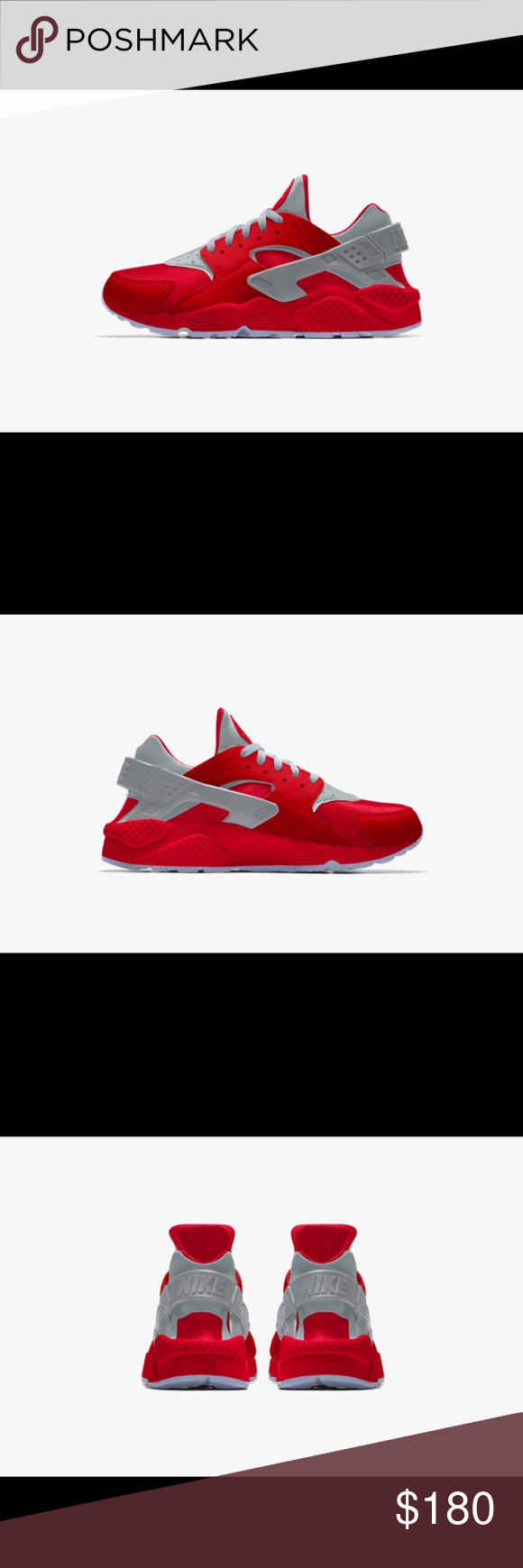 Nike Huarache. Nike Huarache University red Clear bottoms Nike Shoes  Sneakers