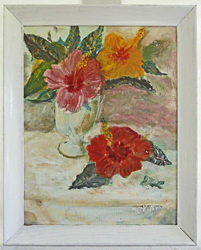 Tropical Vintage 50s Painting Hibiscus Still Life Flowers Modern Ruth Wilkinson  #Modernism