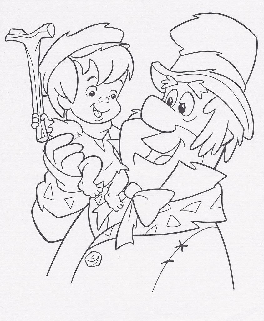 A Flintstones Christmas Carol coloring sheet, 1995 | Coloring pages for kids, Christmas coloring ...