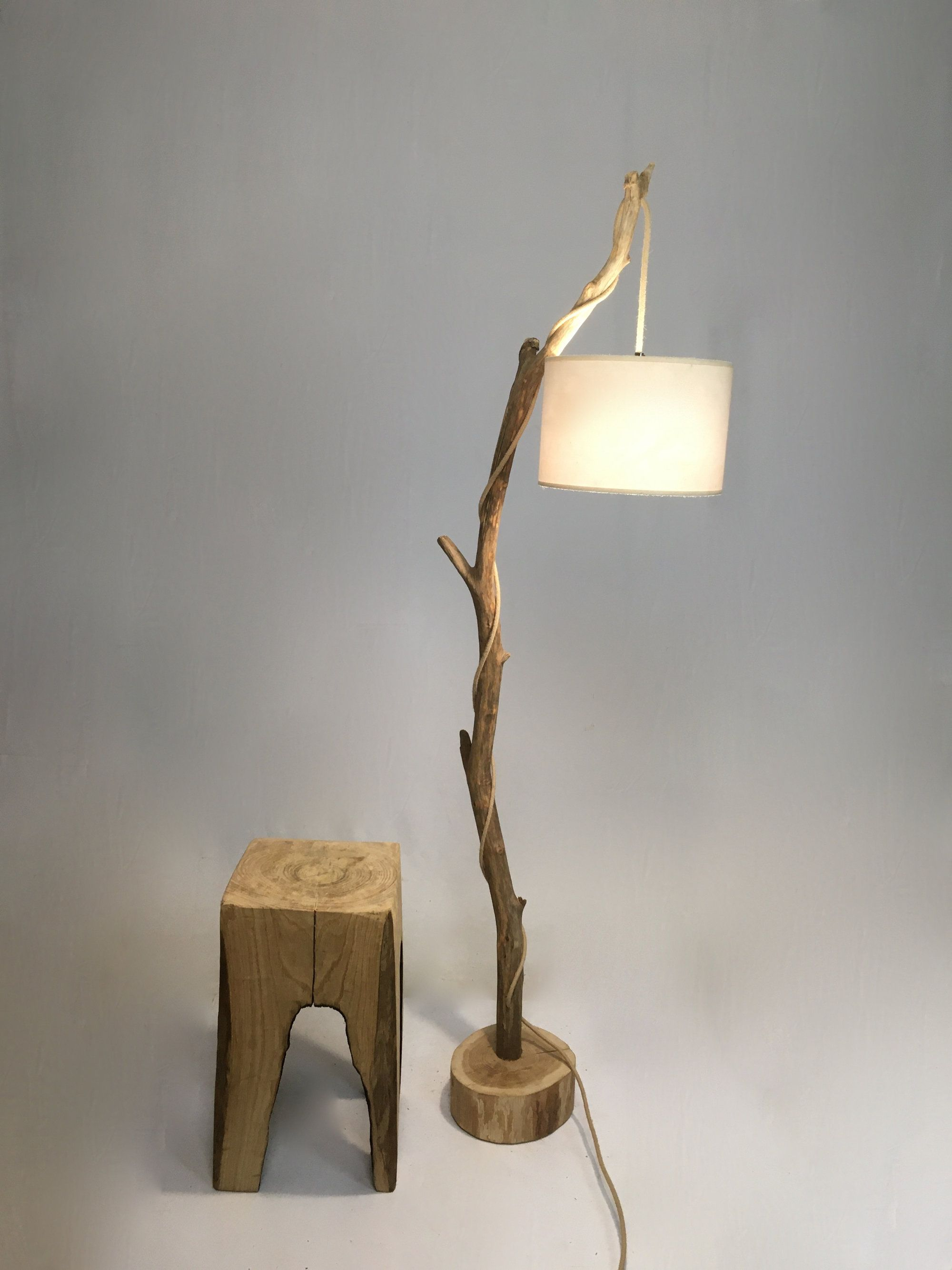 Old Branch Floor Lamp With Lamp Shade And Jute Cable Oldwoodlamp Woodenlamp Woodenfloorlamp Naturalwoodlamp Diy Lamp Shade Diy Floor Lamp Tree Floor Lamp
