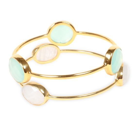 Sea foam, chalcendony and moonstone bangle