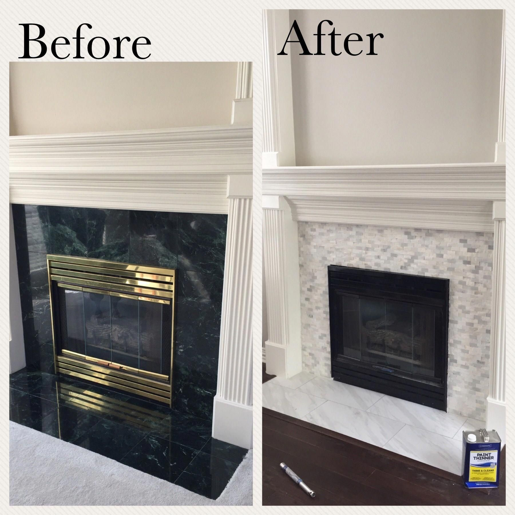 Fireplace updated by painting brass black and replacing