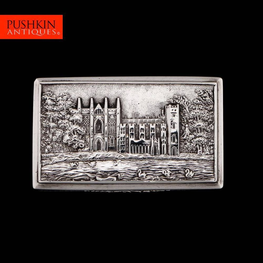 antique 19thc victorian solid silver castle top snuff box nathaniel mills c1838