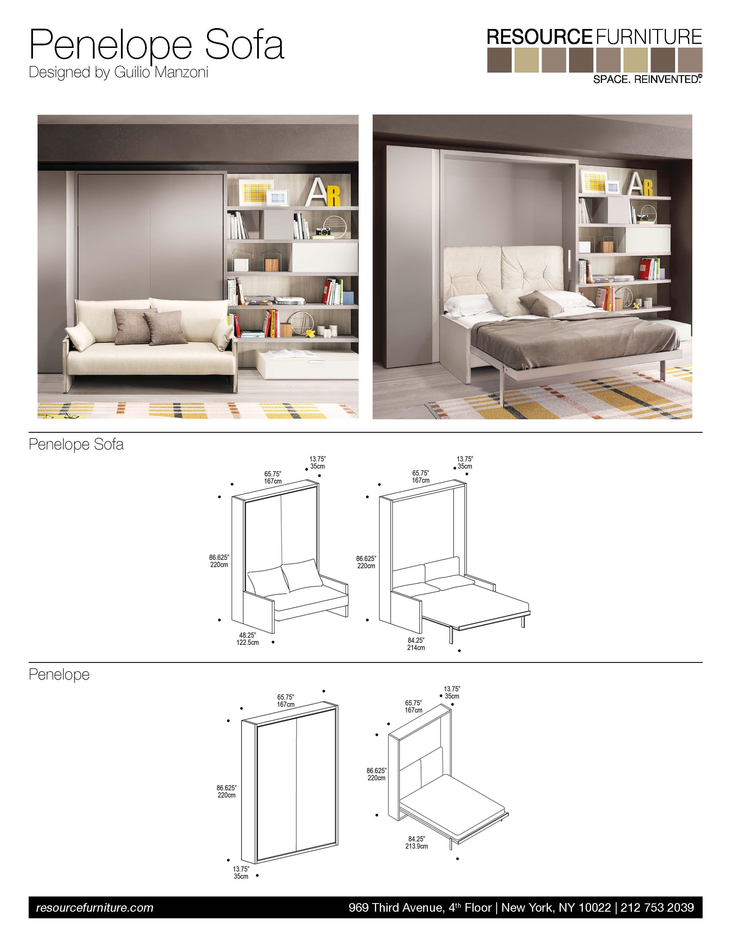 Penelope Sofa  Resource Furniture  Wall Beds & Murphy Beds