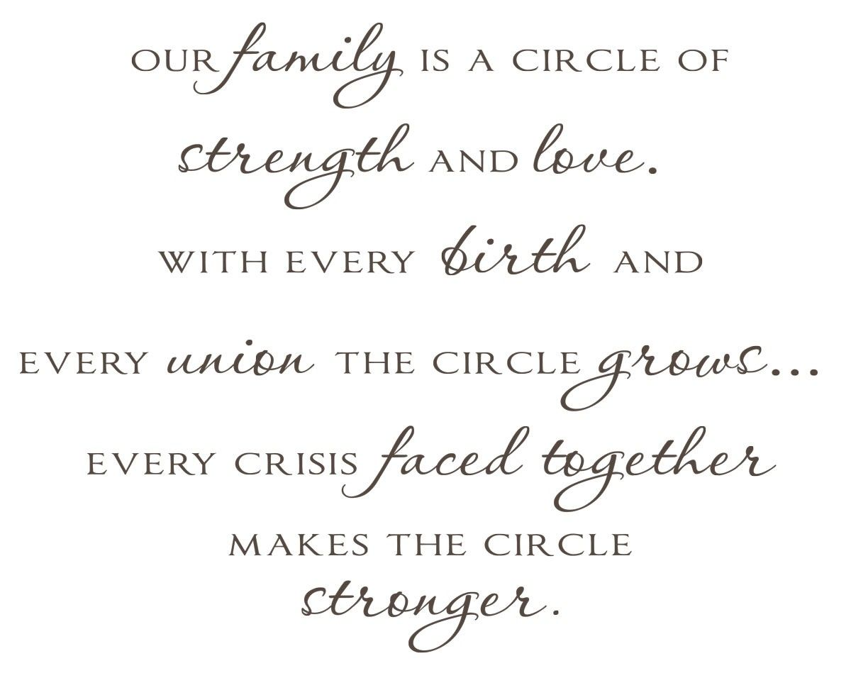 Quotes About Family Strength: Our Family Is A Circle Of Strength And Love