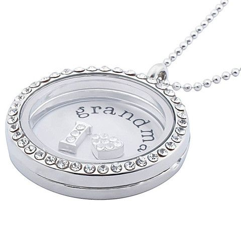 Floating Locket  Pendant Glass Charms Living Memory Love Neclace Chain Gift