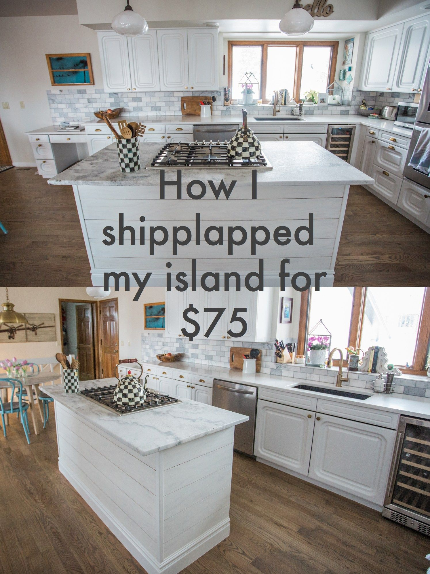 how i installed shiplap on my island for under 75 shiplap kitchen kitchen island makeover on kitchen island ideas in small kitchen id=72337