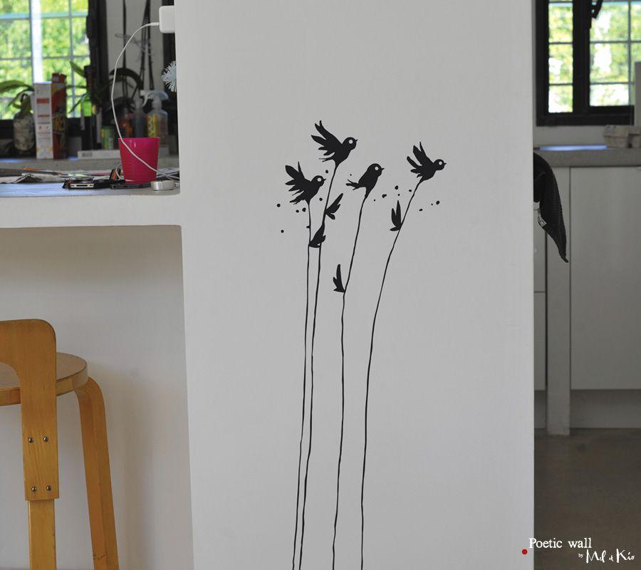 Poetic wall - Stickers dessin - Fleurs moineaux
