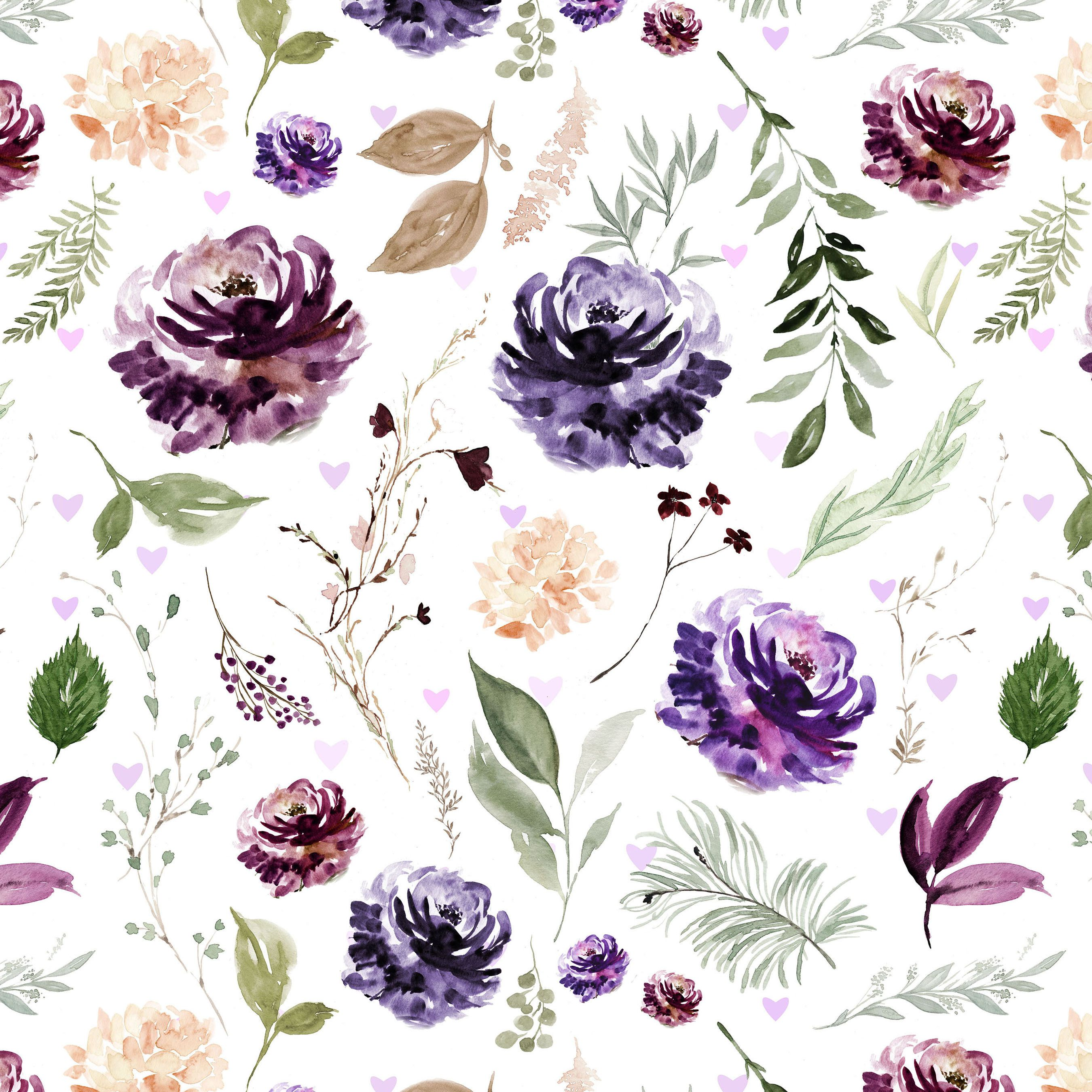 Purple Florals Fabric By The Yard Quilting Cotton Organic Etsy Floral Watercolor Floral Fabric Fabric