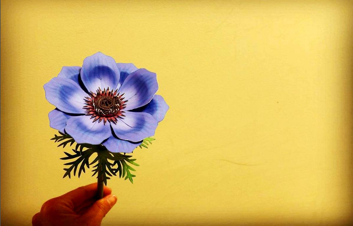 _mogu___mogu_様より 絵になりますね〜 (*˘︶˘*).。.:*♡素敵なアネモネ➡️https://goo.gl/LXIMbT  ✨#完成✨✂ #ペーパークラフト #paperkraft #ハサミ #花 #flower #アネモネ