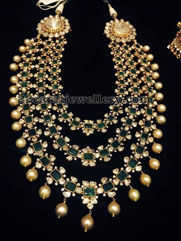 b0f48a64d9c26 3 Layer Radiant Emerald Haram | Jewellery | Jewelry, Indian jewelry ...