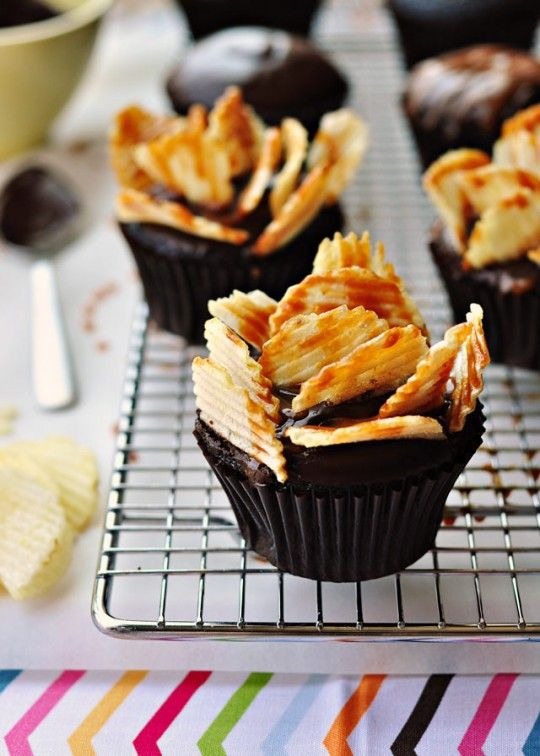 Highway to Heaven Cupcakes (Moist chocolate cupcake, brushed with coffee syrup, injected w/salted caramel sauce, topped with ganache, drizzled with salted caramel sauce, then topped with spears of caramel-drizzled Ruffles potato chips)