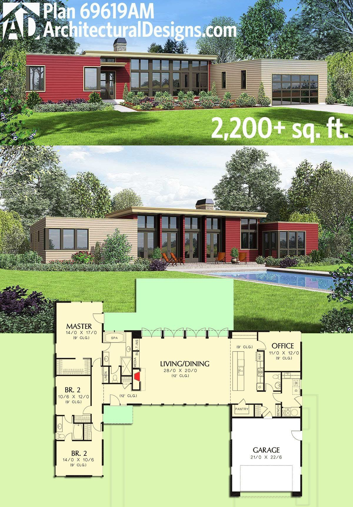 One Story Modern House Designs Plan Am 3 Bed Modern House Plan With Open Concept Container House Plans Modern House Plan House Plans One Story