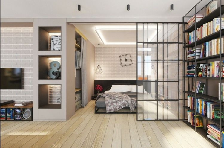 Interieur des Schlafzimmers mit eingebautem Schrank und
