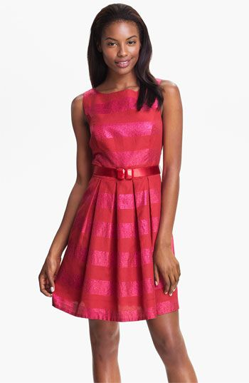 Trina Turk 'Domino' Metallic Stripe Jacquard Fit & Flare Dress