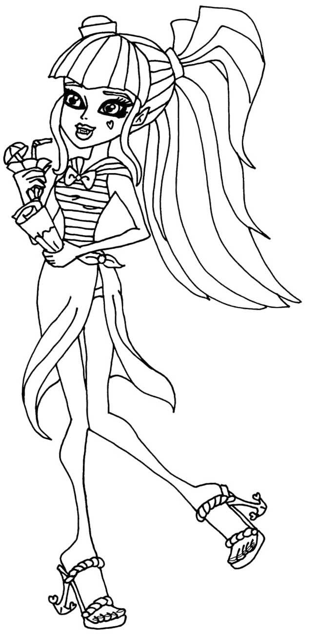 monster high draculaura runs alongside the beach coloring pages