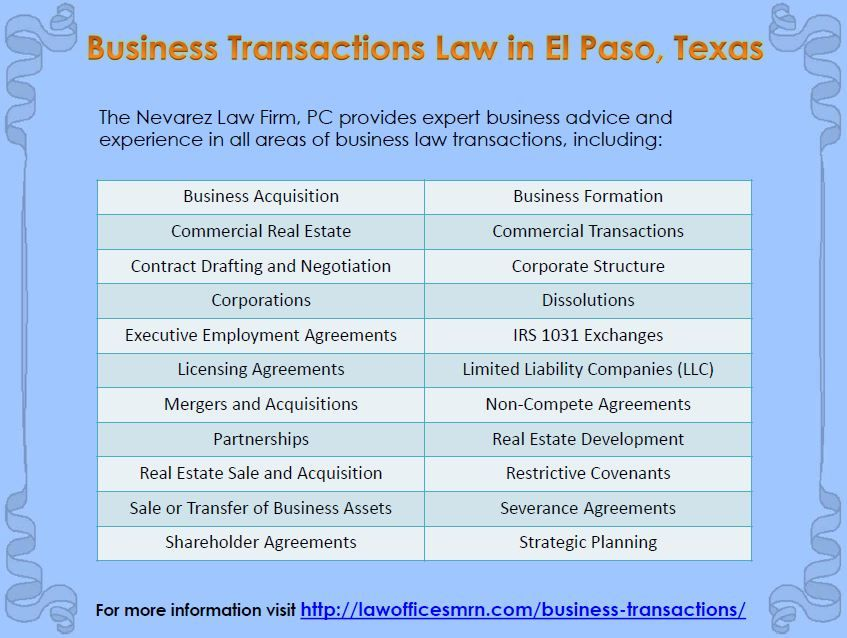 Business Transactions Law In El Paso Texas  Business Law