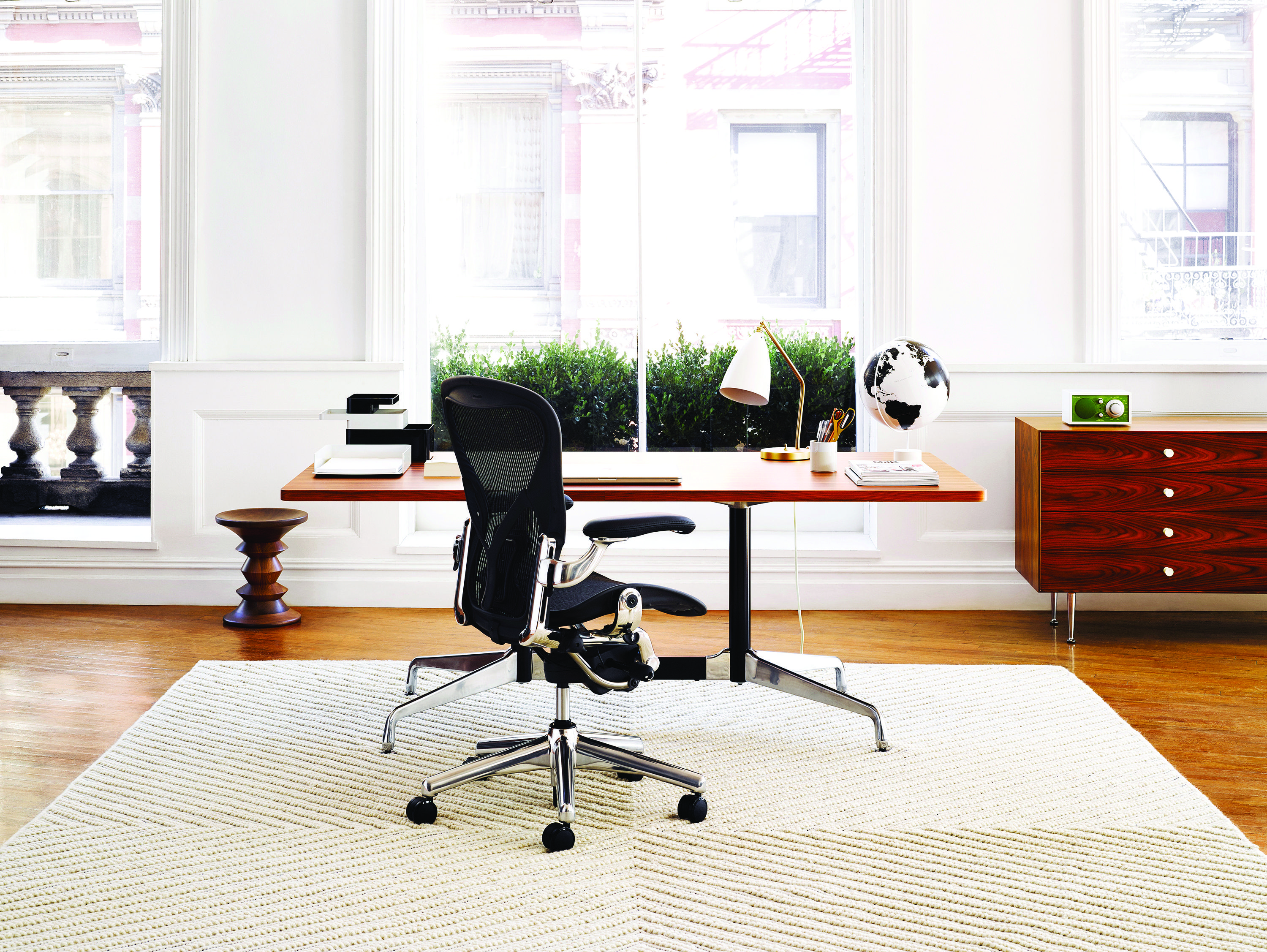 A simple bright modern office space Mid century office meets