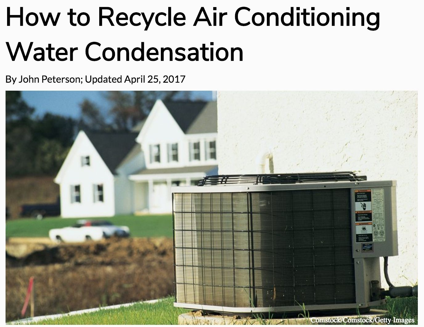 Recycle Condensed Water From Hvac Water Condensation Water House Recycling