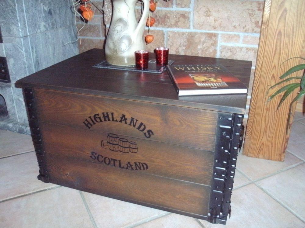 Shabby Alte Frachtkiste Couchtisch Holzkiste Truhe Tisch Vintage Whisky Wohnen
