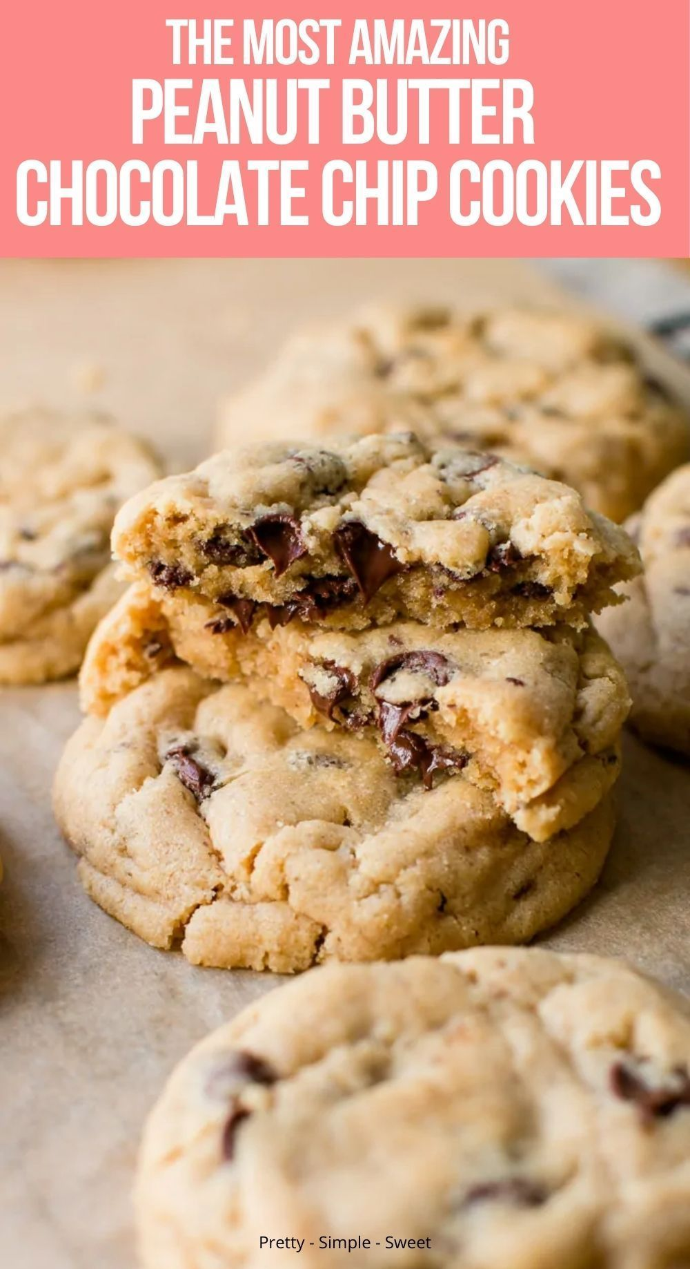 These soft bakery-style peanut butter chocolate chip cookies are packed with peanut butter flavor and loaded with chocolate chips. If you serve them warm, they will melt in your mouth! #cookies #easyrecipes #cookierecipes #peanutbutter