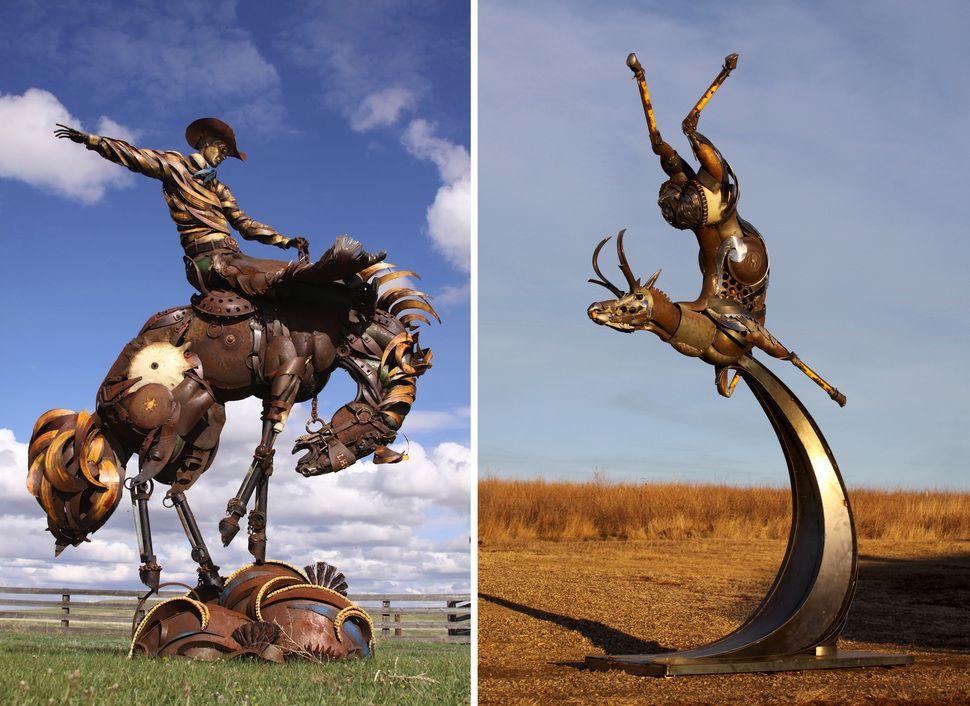 Image result for old farm equipment sculpture Metal