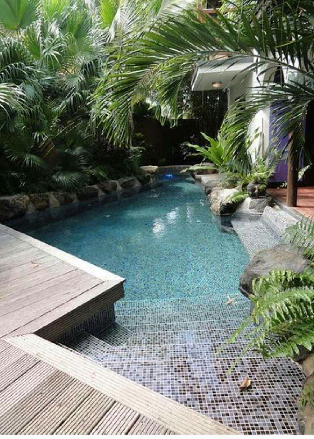 Pin By Ningnong On สวนเล กๆหน า หล งบ าน ม มน งเล น Small Backyard Pools Small Backyard Design Swimming Pools Backyard