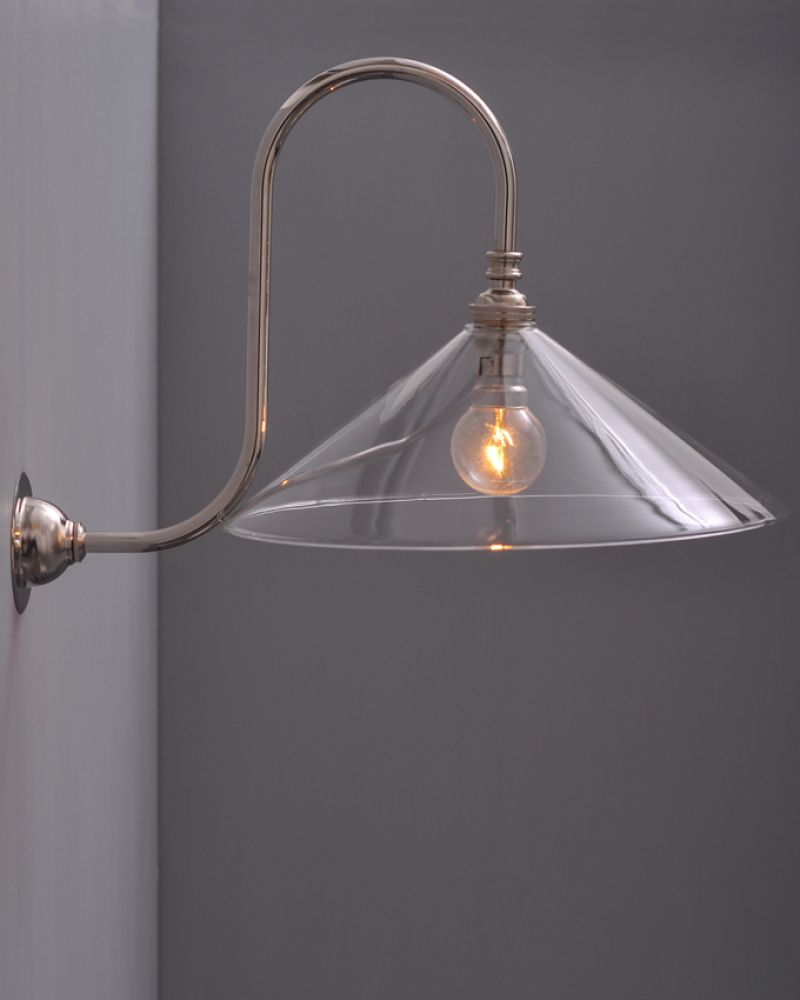 Swan neck wall light with hay glass coolie shade lighting swan neck wall light with hay glass coolie shade aloadofball Choice Image