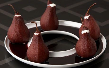 Red Wine Poached Pears with Mascarpone Recipe by Michael Chiarello
